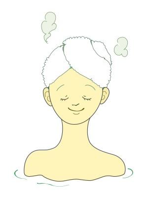頭皮を蒸らす